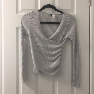 H&M Grey Ribbed Wrap Crop Sweater Top - Size XS